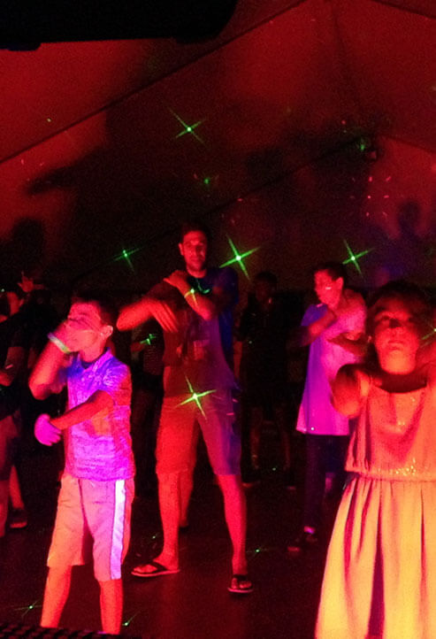 Dance night at campsite le Val d'Amour in the Jura
