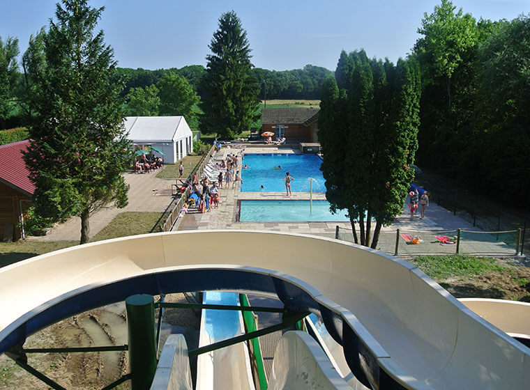 Water park made up of slide campsite in the Jura