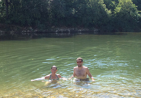 Bathing in La Loue in Ounans in the Jura
