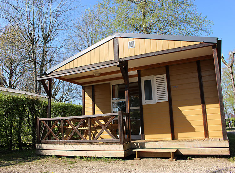 Gitotel chalet for five people outside view at camping le Val d'Amour in the Jura