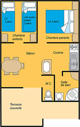 Gitotel chalet for five people map in the Jura